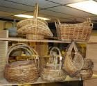Split Rattan, Bamboo And Grapevine Basket Assortment Including Cross Handled Hat, Rectangle Ear Handled, Bowls, Hen Basket And More, Qty 15, (O1)