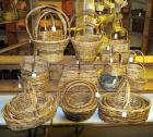 Split Rattan And Bamboo Cross Handled Basket Assortment Including Oval, Round, And Square Nesting Sets And More, Medium Brown Finish, Qty 26 ,(O1)