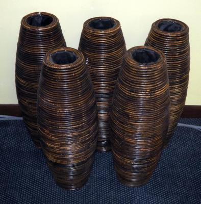 "Rattan Wrapped Tapered Cylinder Urn, 24"" Qty 5, (O2)"