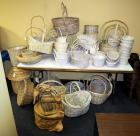 Split Rattan, Wood And Bamboo Basket Assortment, Including Trays, Pot Covers, Cross Handled Baskets And More, White Wash Finish, Qty 64 ,(O2)