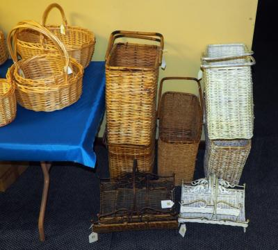 Split Bamboo And Rattan Stair Baskets, Qty 5 And Metal Framed Decorative Kindling Baskets, Qty 5, (O2)