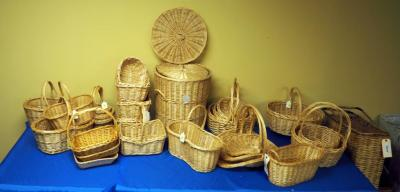 Willow And Rattan Cross Handled Baskets, Trays, Hamper Set And More, Natural Finish, Qty 27, (O2)
