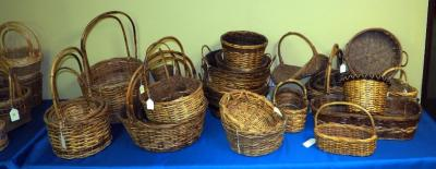 Rattan, Bamboo & Split Wood Basket Assortment Including Trays And Cross Handled Baskets, Various Finishes, Qty 28, (O2)