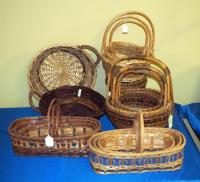 Willow, Split Wood & Rattan Baskets With Braided Ribbon Patterns, Qty 17, (O2)