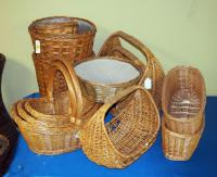 Willow Rattan And Split Wood Basket Assortment Including Plant Pot Covers, Cross Handled Baskets And Trays, QTy 13, (O2)