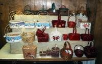 Split Wood And Rattan Holiday Baskets Including Snowmen, Holly, Christmas Trees And More, Qty 58, (O2)