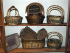 Bamboo, Rattan And Split Wood Baskets Including, Bamboo Slat Trays, Braided Cross Handled Baskets And More, Qty 24, (O2)