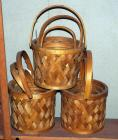 Split Wood Lattice Styled Hinged Pail Baskets, Qty 9, (H1)