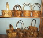Split Wood And Rattan Cross Handled Baskets Including Round, Oval, Square and Peanut Shapes, Qty 20, (H1)