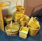 Split Wood Basket Assortment Including Pot Covers, Cross Handled Baskets, Trays, And More, Qty 23 Pieces, (H1)