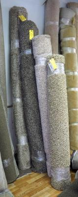 Frieze And Plush Residential Multi Colored Residential Coloured Carpet, Qty 4 Partial Rolls