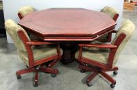 Octagonal Solid Wood Gaming Table With Lid And 4 Upholstered Swivel Chairs On Wheels, Matches Lot 65