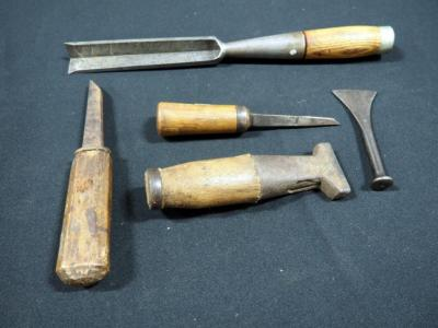 Vintage Wood Handled Hand Chisels And Carving Knives, Qty. 5