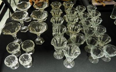 Glass Sundae Glasses And Sherbets, includes 6 Wide Rimmed Glasses, 11 Sundae Glasses, And 16 Sherbets (12 Of One Style And 4 Of Another)