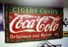 "Antique Heavy Gauge Steel ""Coco-Cola"" Retail Sign, 55"" X 97"", Bidder Responsible For Proper Removal, Screwed To Wall"