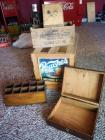"Wood ""Peaches"" Crate, Sheffield Steel Wood Box And More, Qty 5"