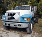 1998 Ford F700 Truck, VIN # 1FDXF7085WVA08615, Mileage Showing On Odometer 146,654, 16 Ft Bed, Propane Powered, Starts & Runs