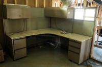 "5-Drawer Corner Office Desk with Lighted Overhead Cabinets, 65"" X 78"" X 78"" , Bidder Responsible For Proper Removal"