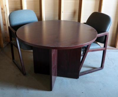 "Round Office Table 30"" X 42"" Round And Office Chairs, Qty. 2"