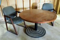 "Round Office Table 29"" X 48"" And Chairs, Qty. 2"