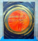 Sam Finley (American, 1956 - ), Abstract Wall Art On Canvas Of Circular Image, 5' x 6', Signed And Dated On Back, See Description