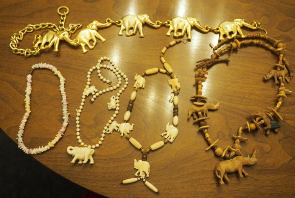 Lot 271carved African Animal Necklace Carved Bone Elephant Necklace Metal Elephant Belt Pooka Shell Necklace And More