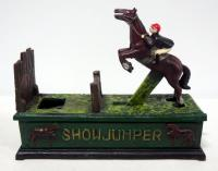 "Cast Iron ""Show Jumper"" Mechanical Coin Bank, 9.5"" L x 3"" W 7.5"" T"