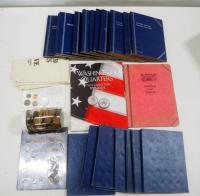 Coin Collector Folder Books, Various Denominations, Some Partially Filled, US Coin Reserve Bag And More