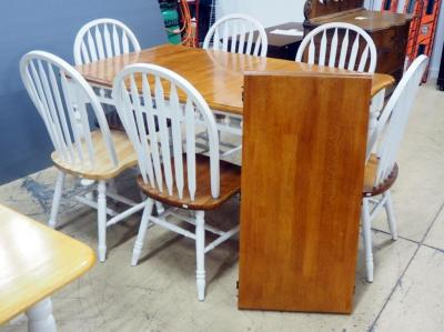 "Dining Room Table With White Base And Natural Wood Top, Includes 6 Chairs, 30"" H x 38"" W x 60"" L (78"" L With Leaf)"