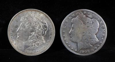 Two Morgan Silver Dollars, 1902 O And 1921