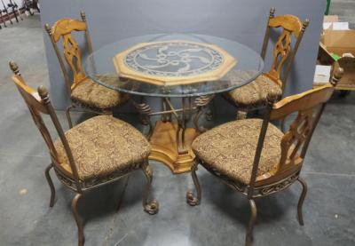 "Ashley Furniture Glass Top Dining Set, Metal And Wood Structure, 4 Upholstered Seats, 48"" Diameter Beveled Glass Top, Matches Lot 39"