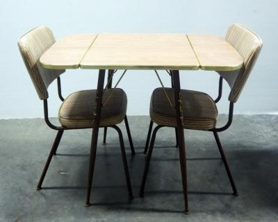 "Vintage Table With Drop Down Sides And 2 Padded Chairs, 29.5"" H x 24"" W x 20"" L (36"" L With Sides Up)"