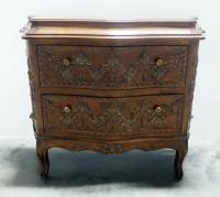 "Ornate 2 Drawer Dresser With Serpentine Front, Wood Floral Design, Brass Pulls, 34"" H x 41"" W x 17"" D"