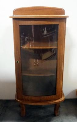 "D&M Wood Display Cabinet With Curved Glass Door, 2 Shelves, No Key, 37.5"" H x 18"" W x 9.5"" D"