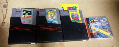 Nintendo Entertainment System Game Cartridges, Includes Kid Icarus, Bayou Billy And Totally Rad And, Sega Crazy Taxi