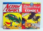 "Comic Book Cover Relief Tin Signs, Detective Comics And Action Comic, Each 11.5"" H x 8"" W, Qty 2"