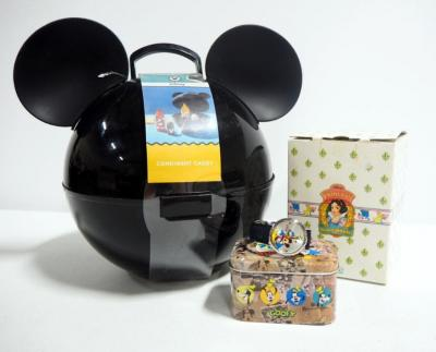 "Vintage Schmid Disney Snow White ""Doc"" Music Box, Plays ""Heigh Ho"", Mickey Mouse Watch With COA In Tin And Mickey Mouse Condiment Caddie"