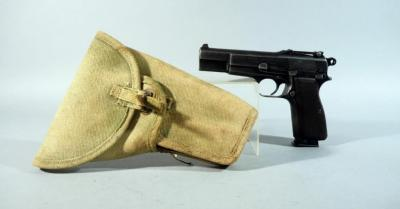 FN / Browning / Herstal Hi Power 9mm Pistol SN# 9324, With Original 1945 Canadian Canvas Belt Holster And Cleaning Rod