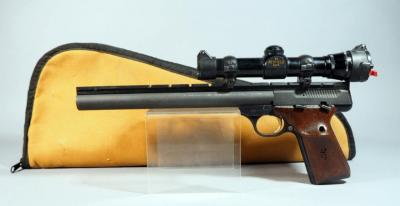 Browning Buck Mark .22LR Pistol SN# 655NT34222, With Redfield 2x EER Scope, In Soft Case