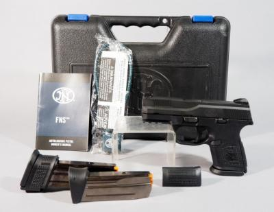Fabrique Nationale Model FNS-9C 9mm Pistol SN# CSU0043247, 3 Total Mags, Extra Grip And Paperwork, In Original Hard Case