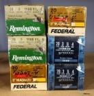 "Assorted 20 Ga 3"" Ammo, Includes Remington And Federal, Approx Qty 150 Rounds, Local Pickup Only"