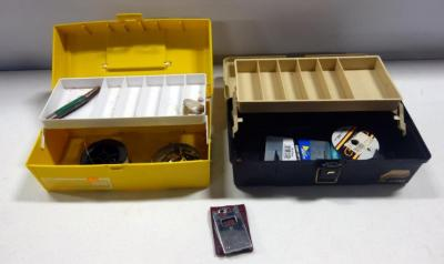 Plano Series 2000 And Plano 5410 Tackle Boxes With Sinkers, Fishing Line, Pocket Knife And More
