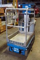 2002 Genie GR-15 Runabout Electric Material Lift, 350 lb Load Capacity, 15' Platform Height, 582 Hours On Gauge. DOES NOT START.