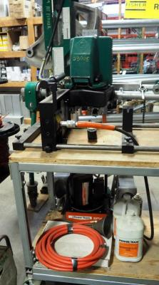 SPX Power Team PE302S Electric Hydraulic Pump With Remote & Wilton Vise, Oil, & More, Bidder Responsible For Proper Removal, Mounted To Workbench