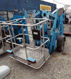 Genie TZ-34/20 Towable Trailer Mounted, Battery Operated Boom Lift, Hours Showing 1436, Unknown Working Condition. Click For More Info