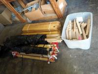 "Assortment of Wooden Concrete Stakes Including 2""x2""x12"", 2""x2""x3"" And 2""x2""x3"" With Black Vynal Coating."