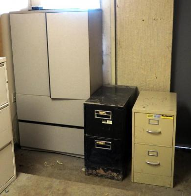 "Composit Two Drawer Storage Cabinet 64""x20""x36"" And Two Metal Two Drawer Filing Cabinets"