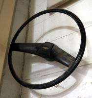 Vintage Chevy Steering Wheel, Mounted To Wall, Bidder Responsible For Proper Removal