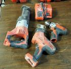 "Milwaukee Battery Powered Sawzall, Hackzall, And 3/8"" Drill Driver, Includes Battery Charger, No Batteries"