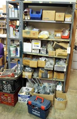Electrical Hardware Including Anchors, Outlet Boxes, Crimps, Couplings, Grounding Kits, And More, Contents Of Storage Rack